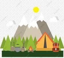 outdoor camp scene near a mountain