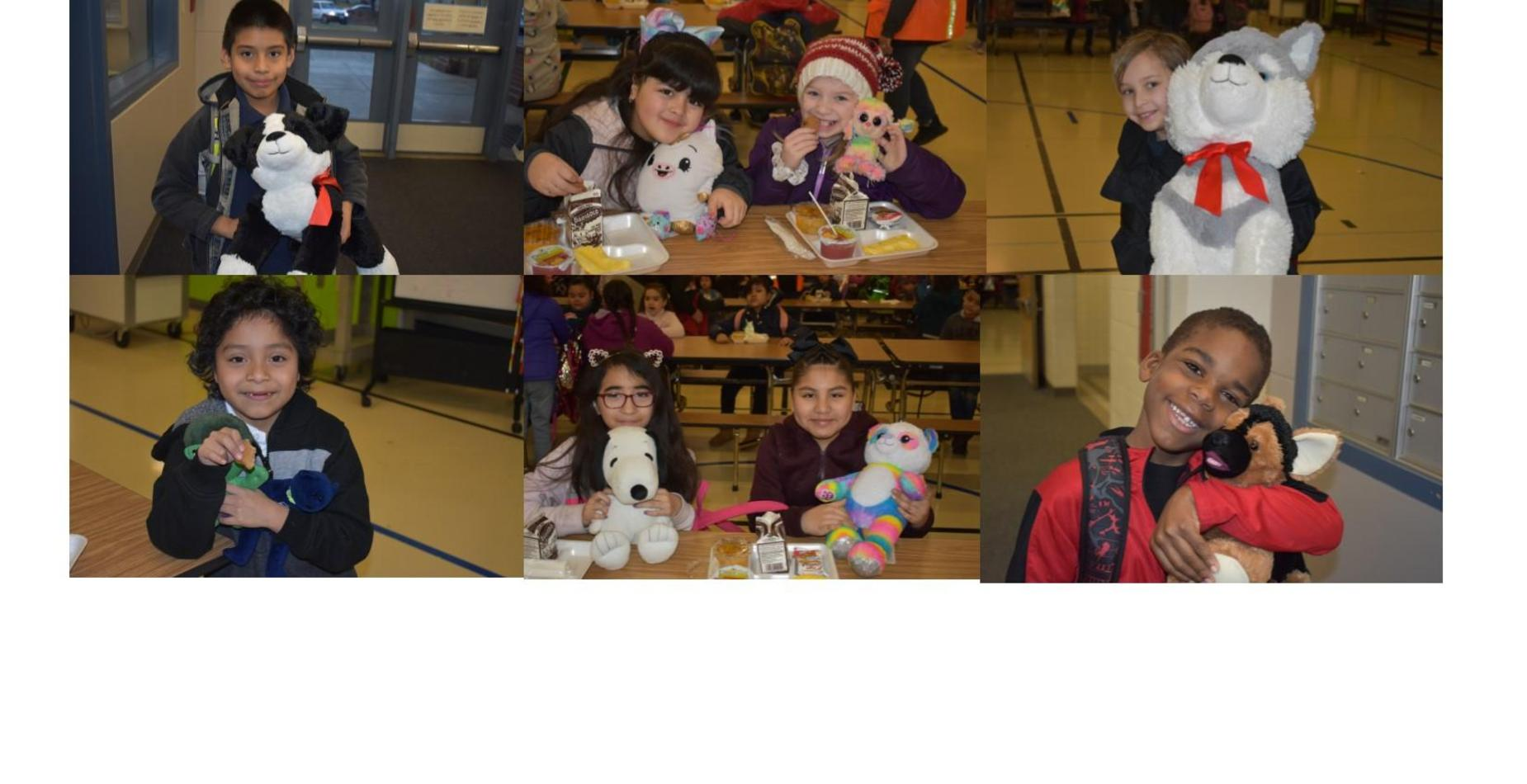 6 pictures of students holding their stuffed animals for stuffed animal day.  All students are smiling