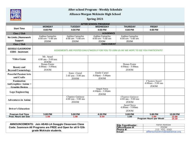 Spring 2021 - After School All-Stars Program Schedule Thumbnail Image