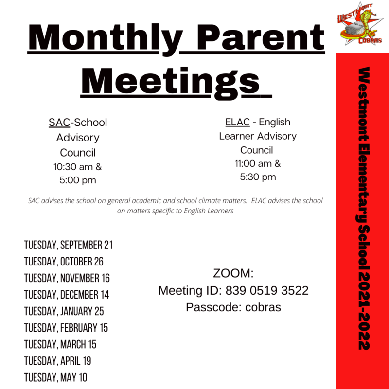 Monthly Parent Meetings
