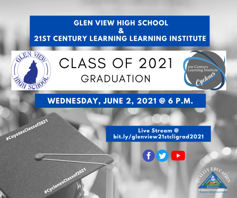 Glen View & 21st Century Logos. Student with Cap and Gown