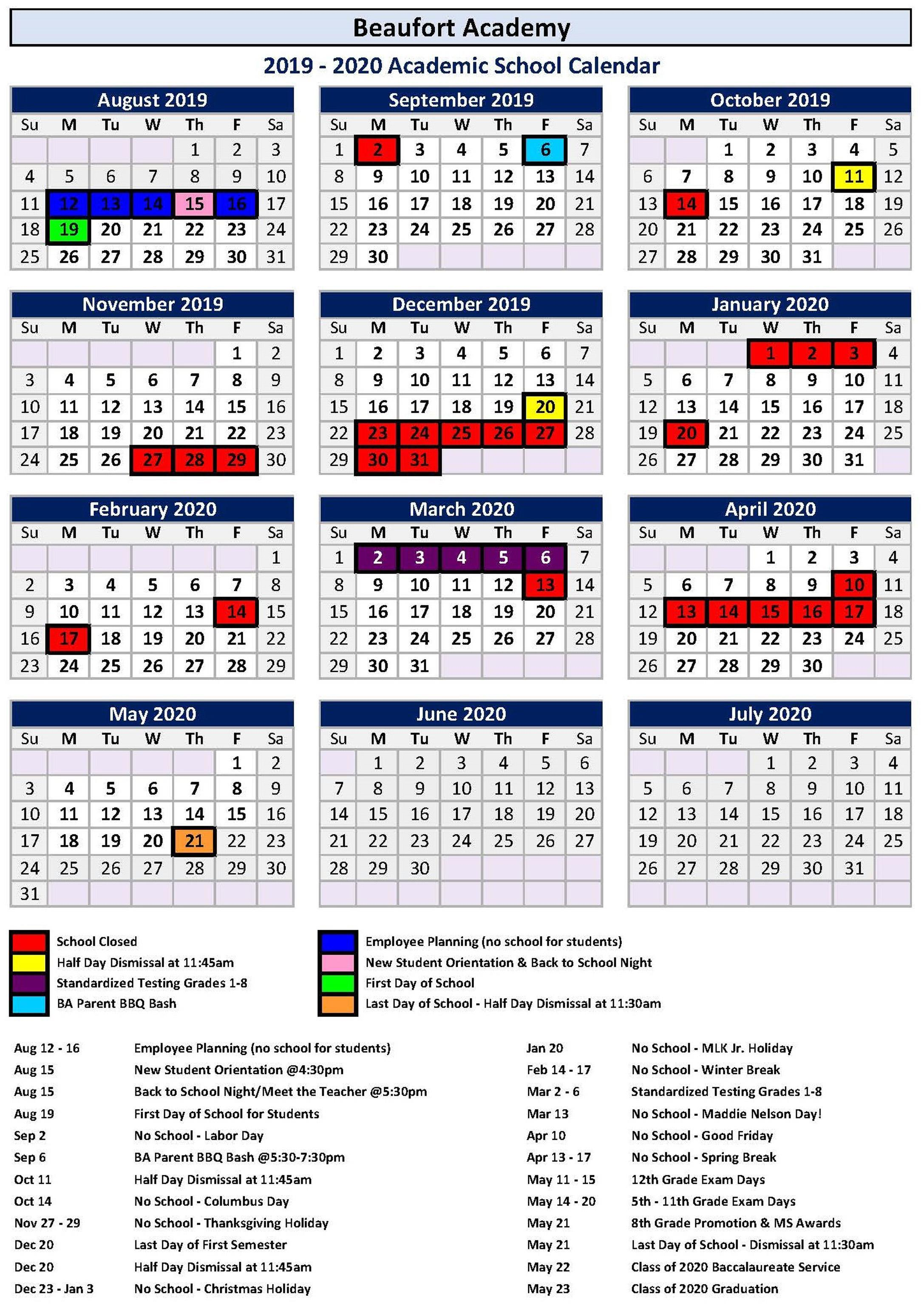 Laing Middle Scool Calendar January 2020 Academic Master Calendar – BA Families – Beaufort Academy