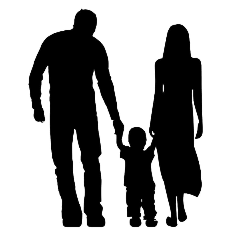 Clipart of two parents holding hands with child.