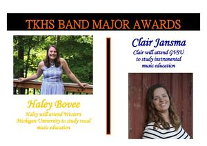 Haley Bovee and Clair Jansma received the senior drum major awards in band.