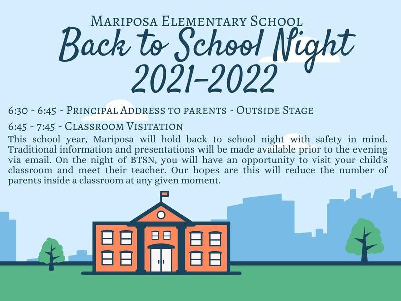 Back To School Night August 25th 6:30 pm