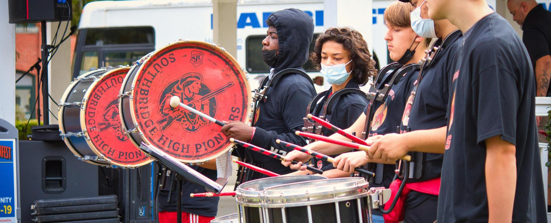 The Southbridge High School Band performs at Autumnfest