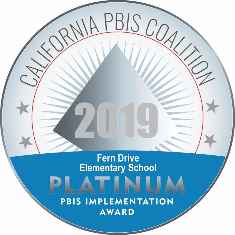 This is a picture  of Fern Drive's Platinum PBIS Award