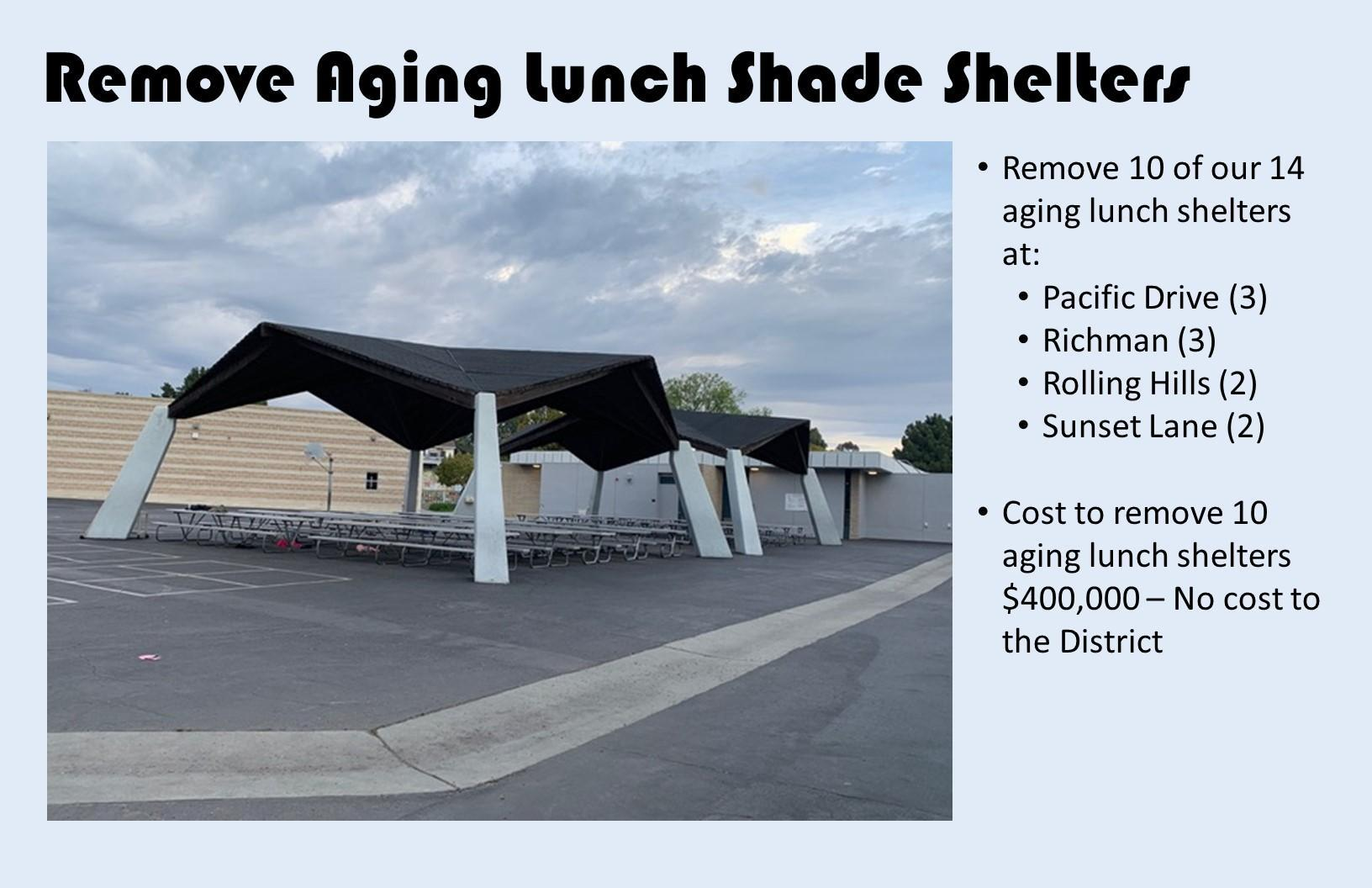 Remove Aging Lunch Shade Shelters
