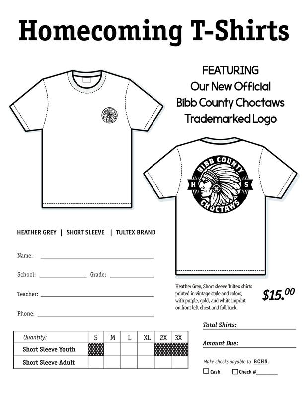 Homecoming T-Shirt Order Form $15 Due Oct. 3