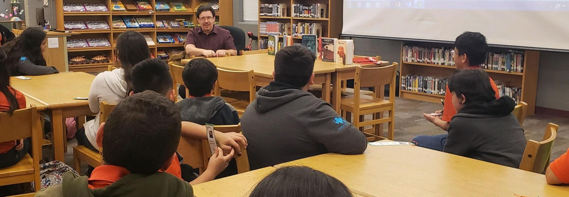 Author, David Bowles speaking to AMJH students