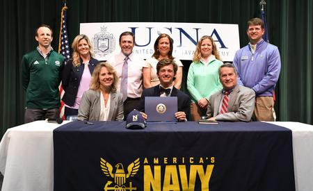 GHS Senior appointed by Rep. Jody Hice to attend U.S. Naval Academy. Appointee is holding recognition surrounded by family, Mr. Hice and staff at Greenbrier High