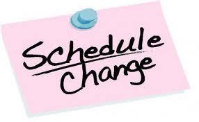Schedule Change written on pink sheet of paper