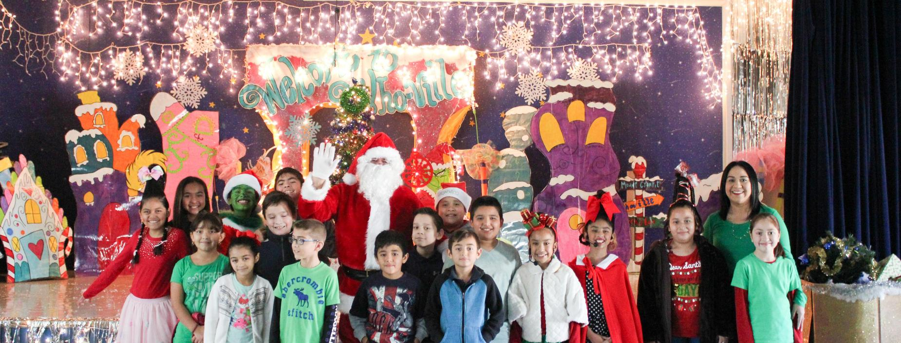 students with santa