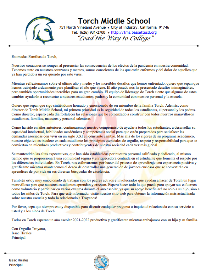 Parent Welcome Letter Spanish 2021-2022