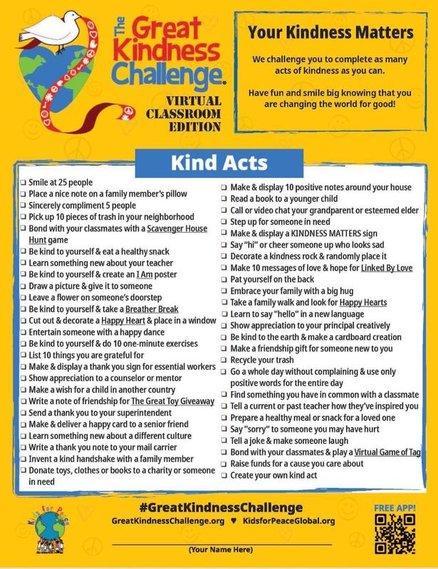 Kindness Week-Kindness Challenge Check List Featured Photo