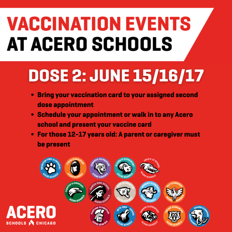 vaccine opportunity for dose 2 at Acero Schools starting June 15/16/17