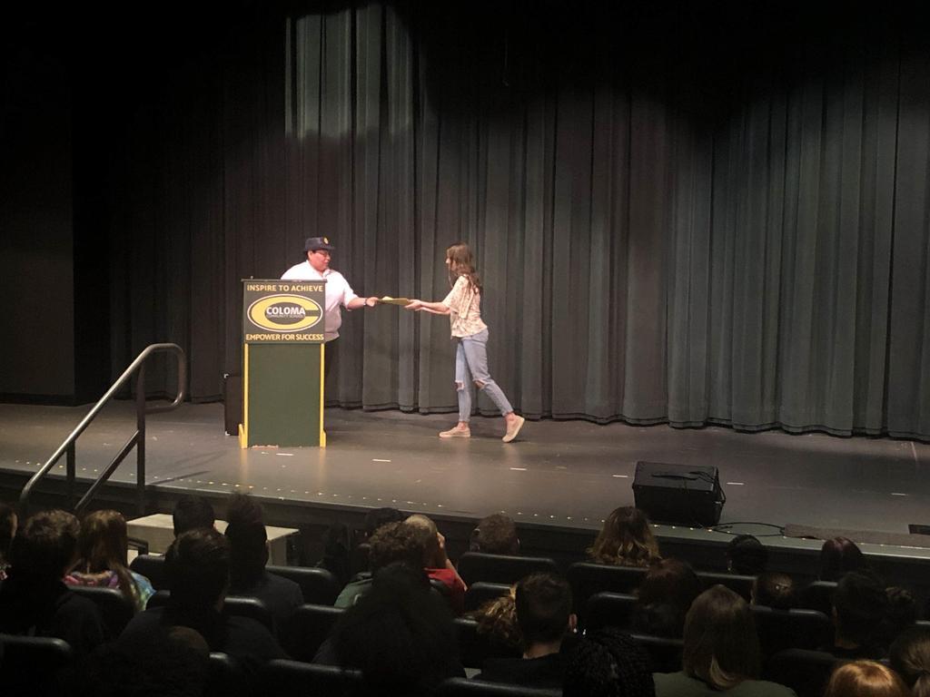 Hannah accepting American Legion Award
