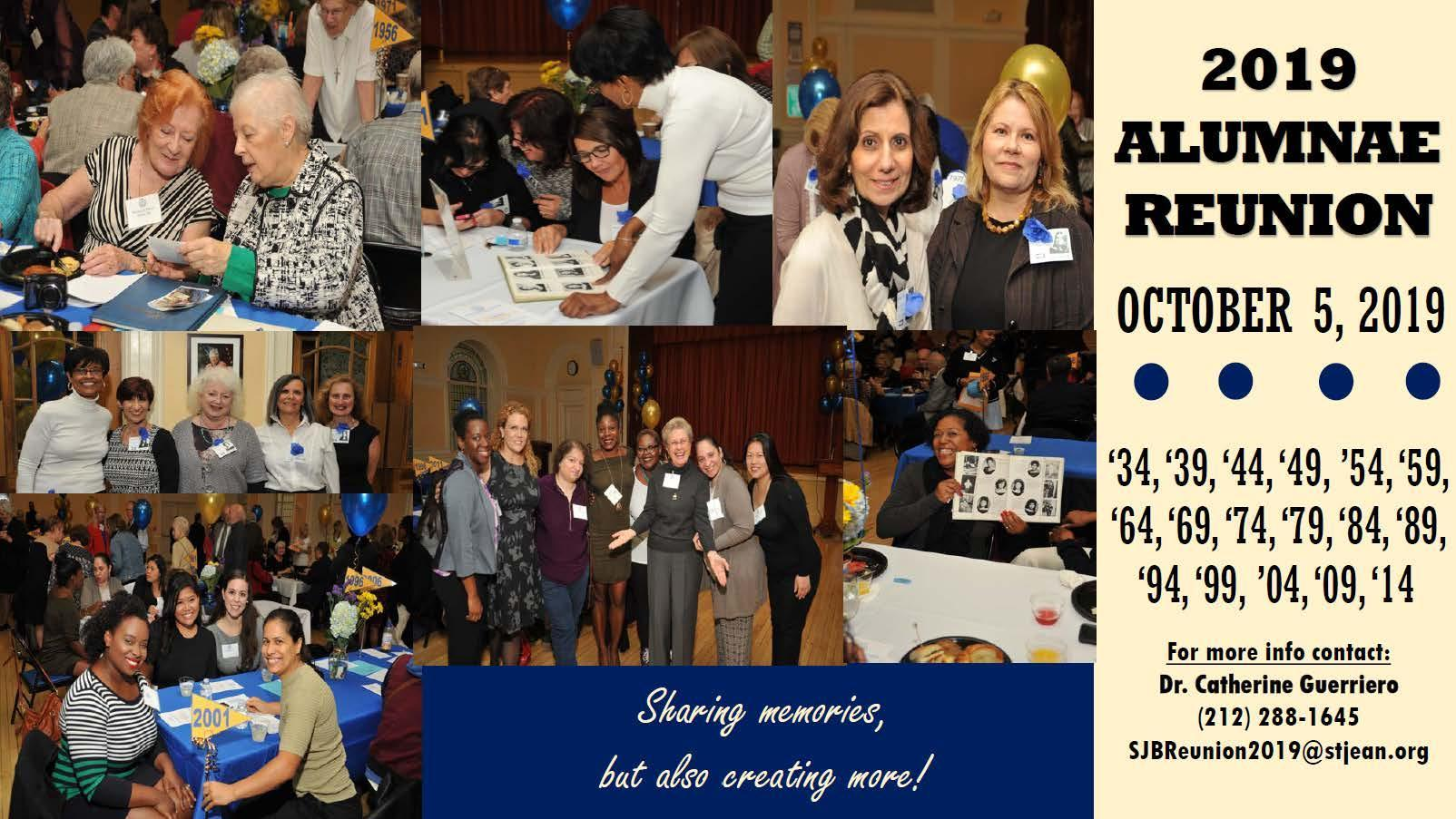Collage of Jeanite Alumnae. RSVP information reads 'For more information contact Dr. Catherine Guerriero 212-288-1645 sjbreunion2019@stjean.org