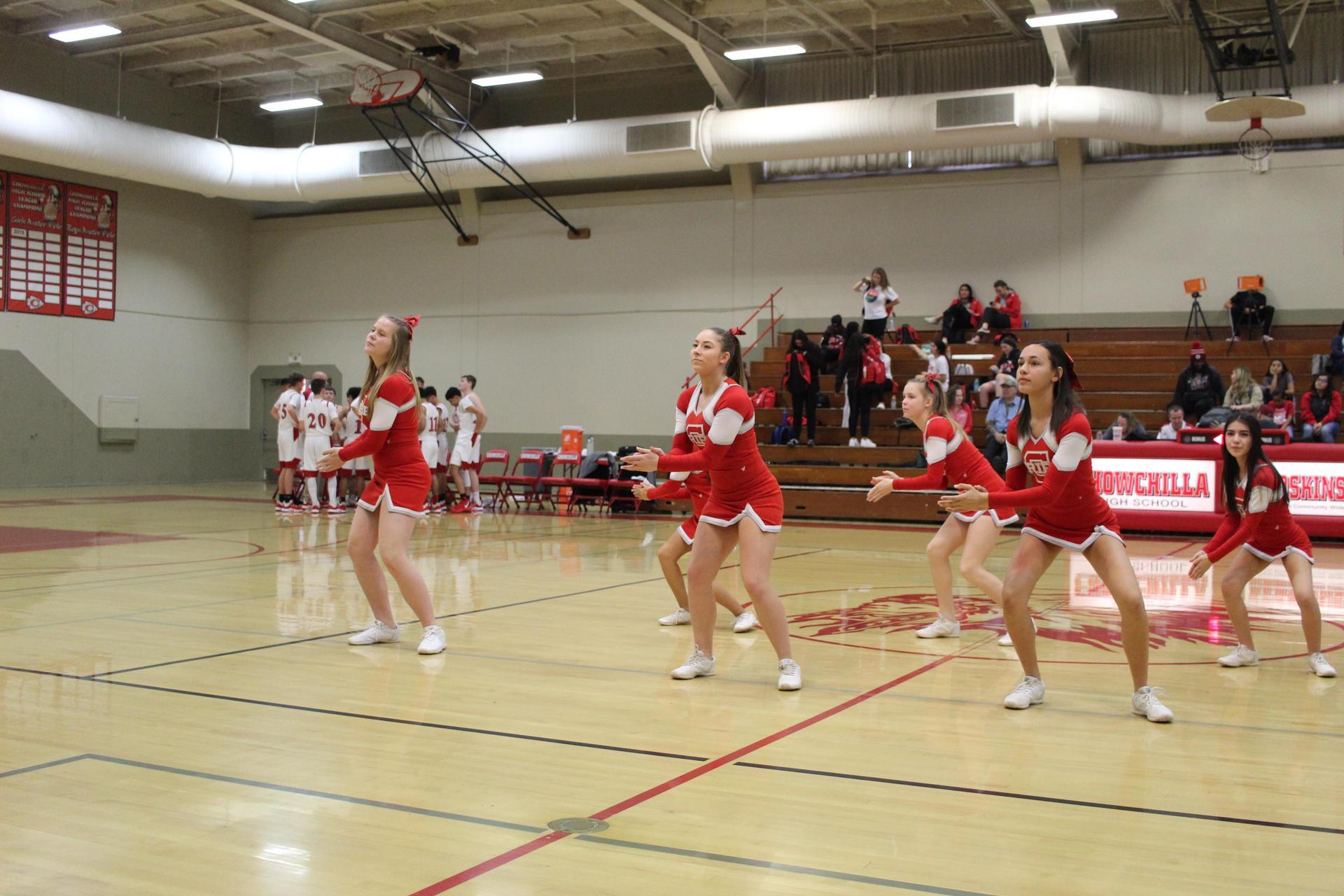 Cheerleaders performing