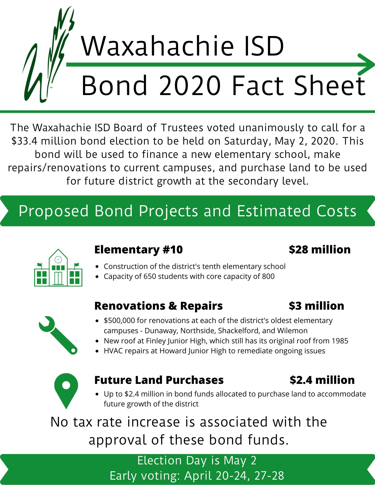 Bond 2020 info