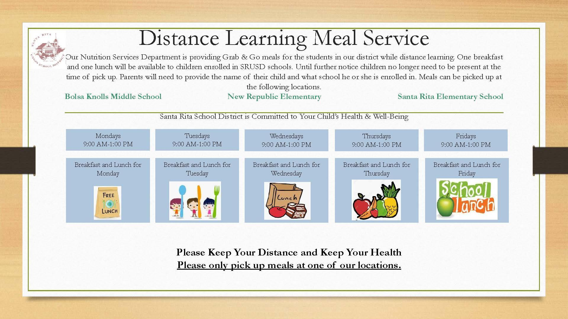 Distance Learning Meal Distribution Schedule