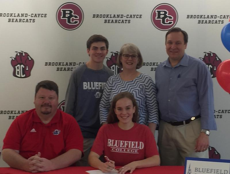 Claire Fingerlin at signing ceremony