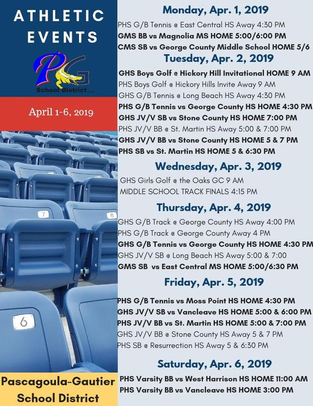 Athletic Events for Week of April 1, 2019