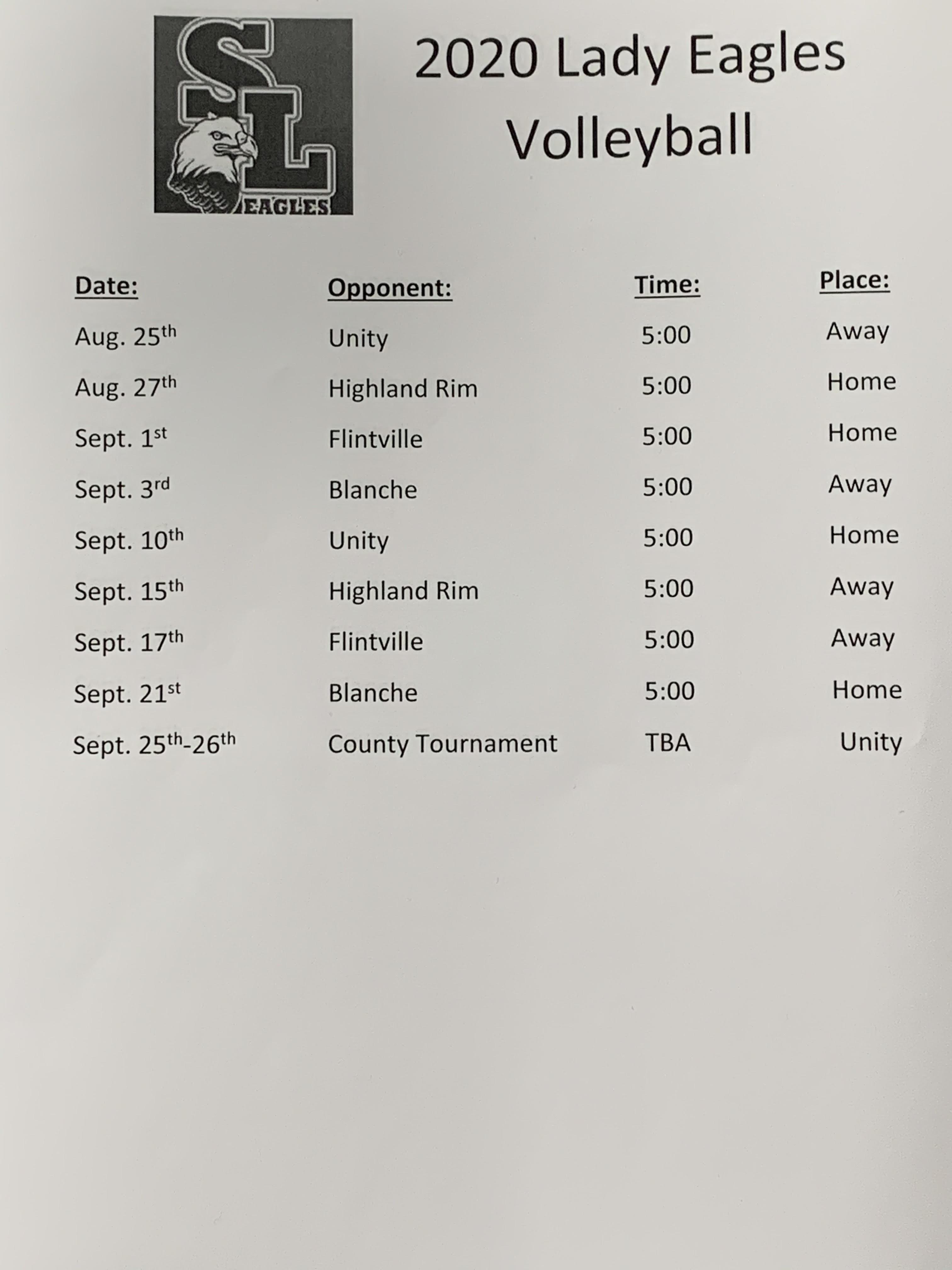 Volleyball Schedule 2020