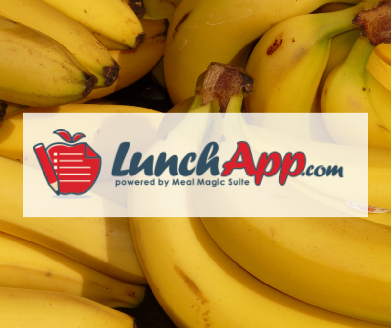 LunchApp logo with bananas photo in background