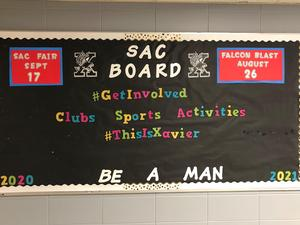 The Student Activities Council (SAC) bulletin board at Xavier.