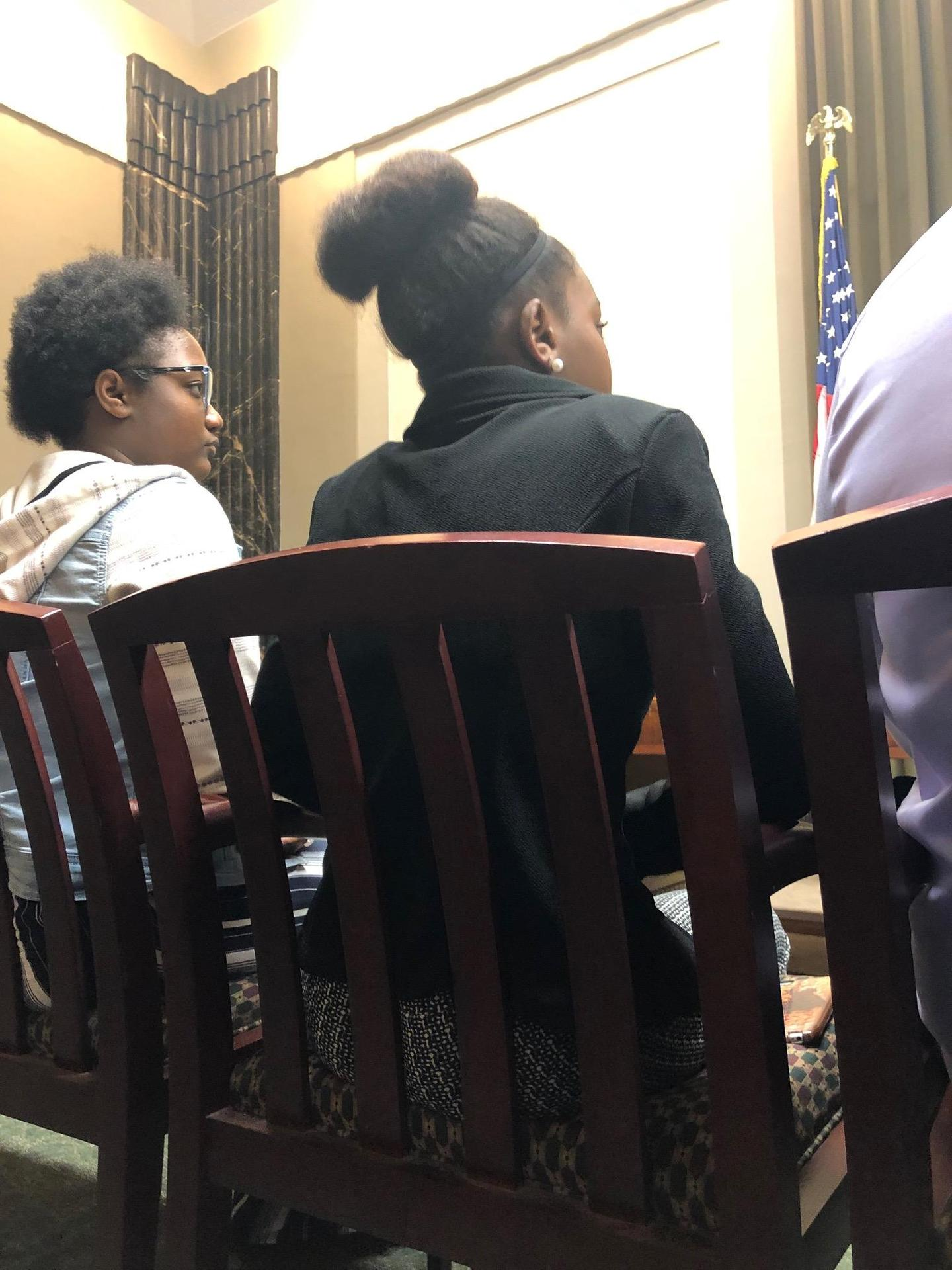 a photo from Baker Middle School student, Destiny Jones, a state JAG officer meeting at the Louisiana Department of Education