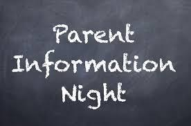 Chalkboard sign saying parent info night