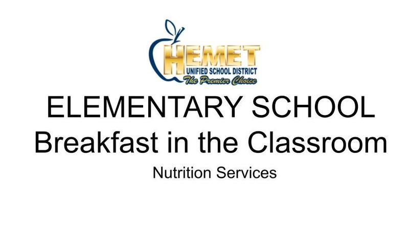 Breakfast in the classroom Nutritional Services