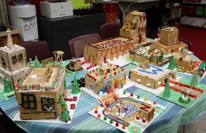 Photo of gingerbread community. After joining an online global group, Washington 4th graders researched  Westfield structures they wanted to build to create a Gingerbread STEM Community.