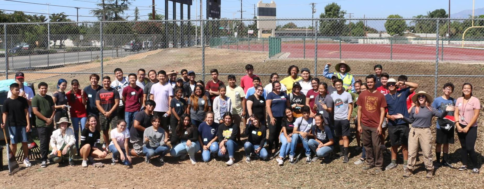 Students participate in the Bassett HS Campus Green Infrastructure project