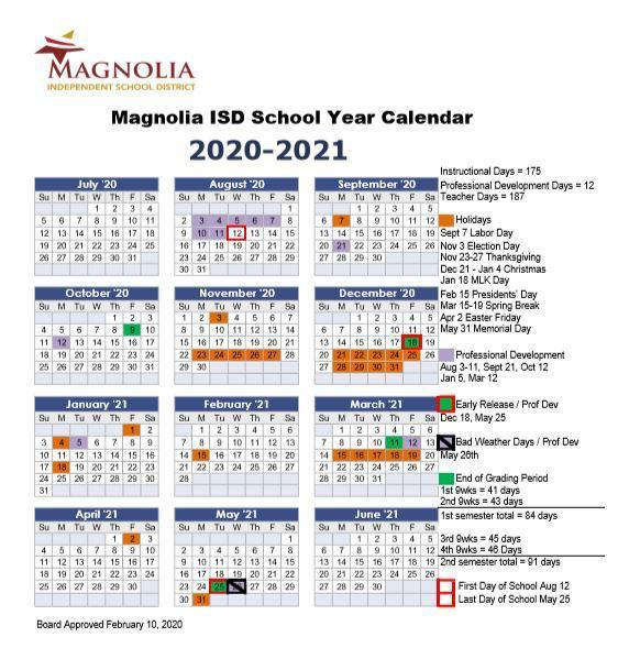 Board Approves 2020 2021 Calendar