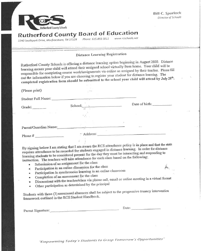 Distance Learning Registration Form (English)