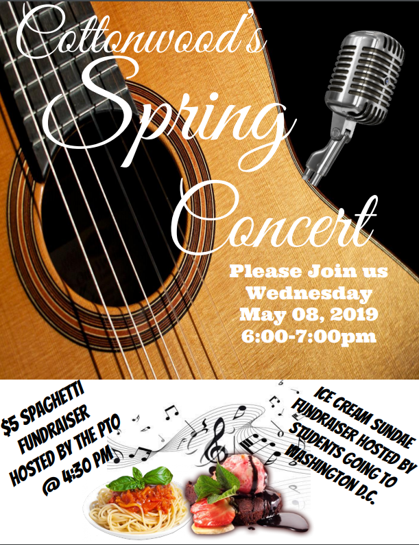 Spring Concert at Cottonwood on May 8th at 6:00 p.m.