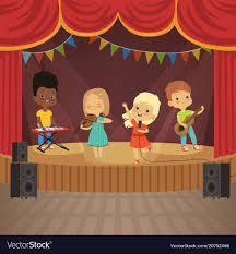 cartoon picture of kids playing instruments