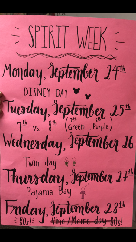 Spirit week poster with amazing calligraphy.