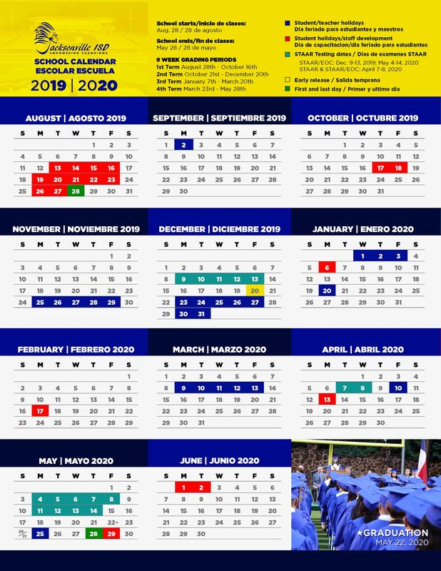 picture of the school calendar for 2019-20