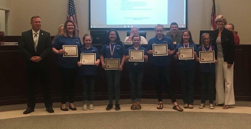 MCES Battle of the Books Teambeing recognized at the Board Meeting May 2018