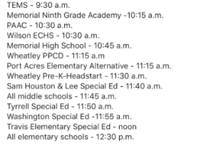 Early Release Times - Click Here