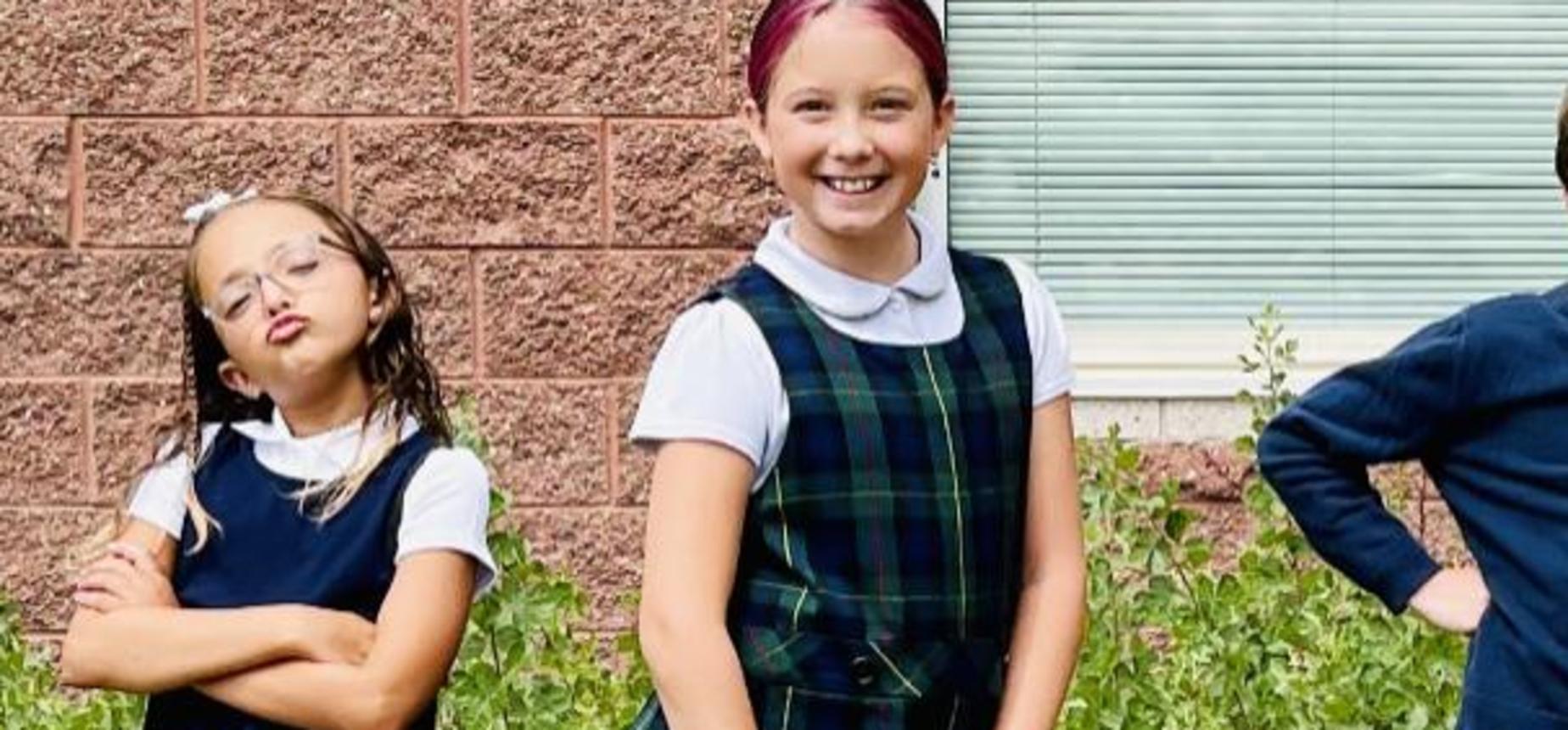 legacy prep best charter school in utah sassy children in school uniforms in front of school