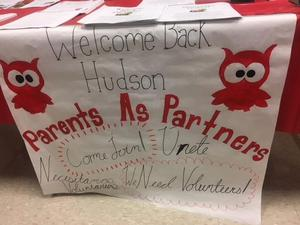 Welcome Back Parent: parents as partners PTO table