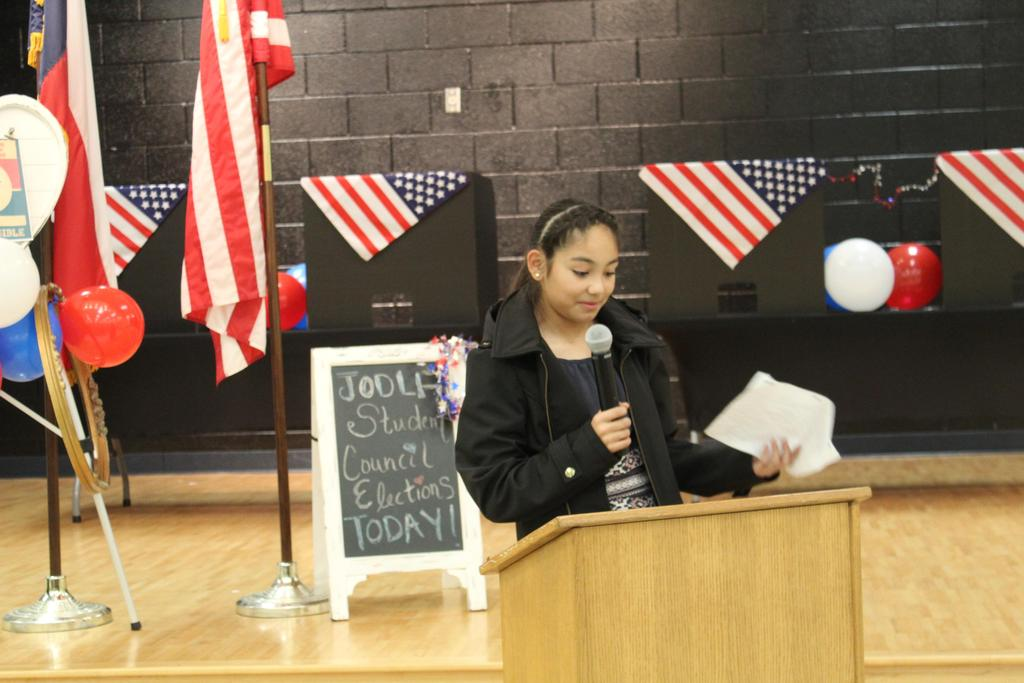 student giving speech
