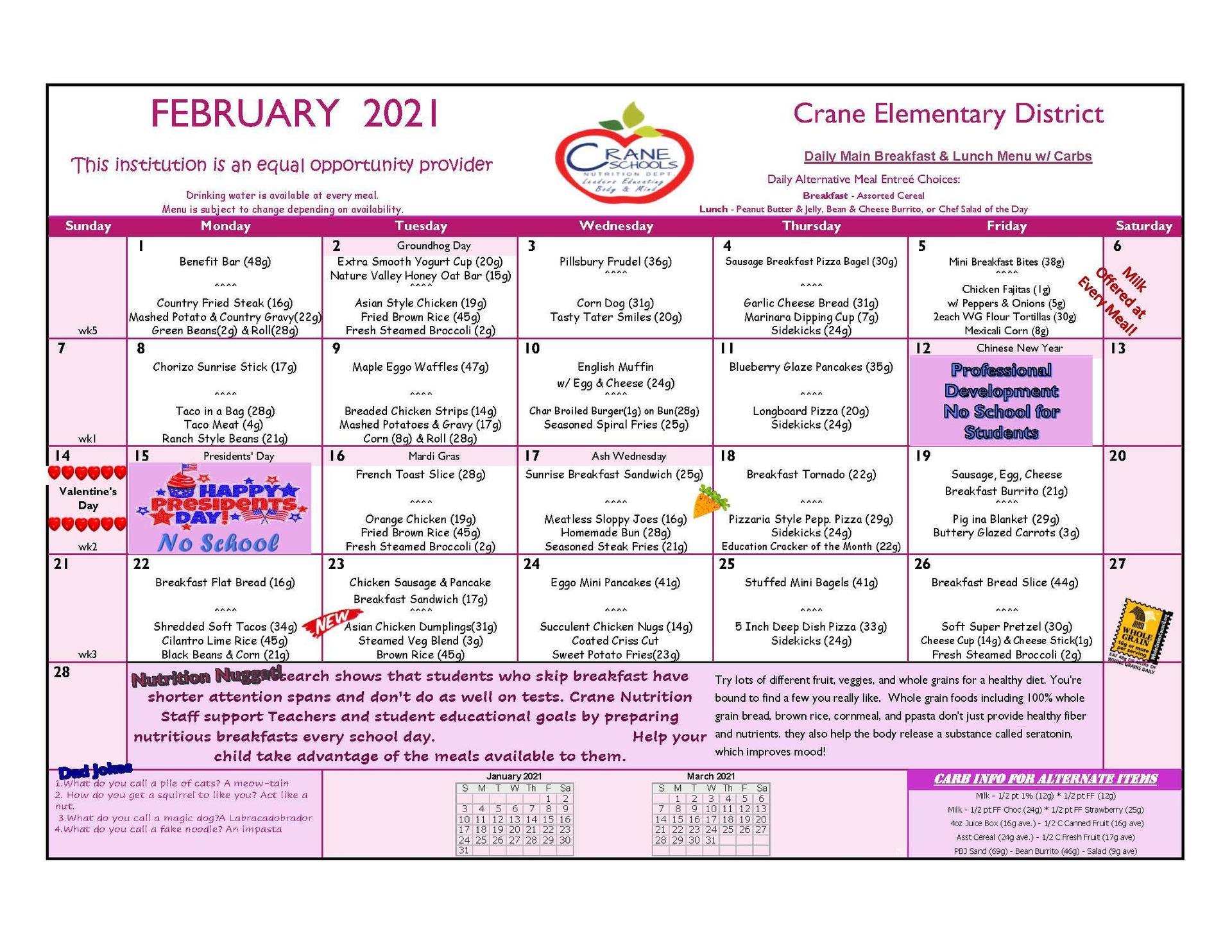 Crane Schools November 2020 Menu