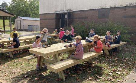 New picnic tables ! Social distance lunches are the best