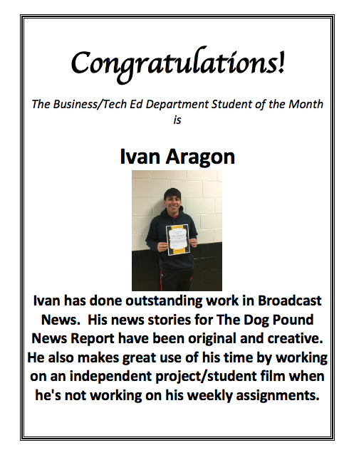 Staff & Student of the Month – Student Showcase – Harold L