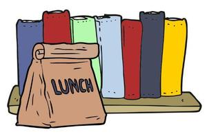 Illustration of books and a sack lunch.